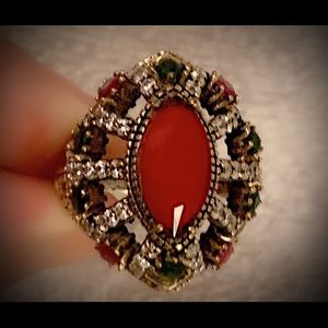 Divine Heart Cluster Ruby Emerald Silver Ring 925